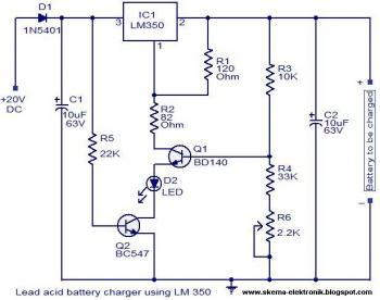 Simple Battery Charger using LM350 circuit diagram