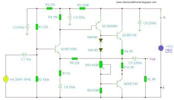 2 Watt Audio Amplifier circuit diagram