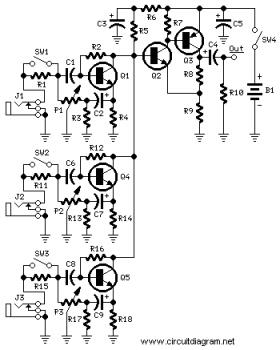 Simple 3 Channels Mini Mixer circuit