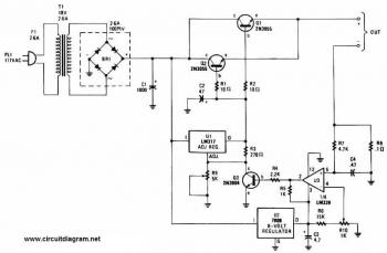 Adjustable Regulated Battery Charger circuit diagram