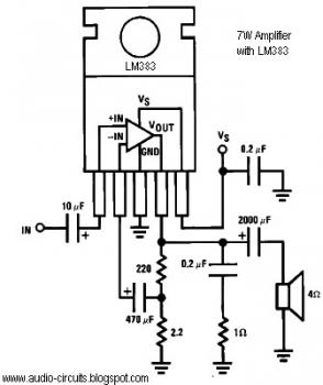 7W Audio Amplifier circuit with LM383