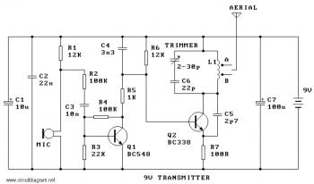 9V FM Radio Transmitter « Circuit Diagram