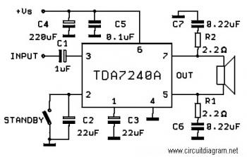 20W Bridge Amplifier circuit diagram