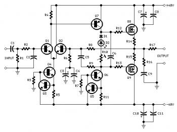 60W MOSFET Power  Amplifier circuit diagram