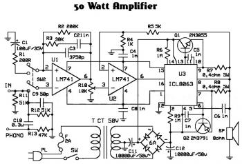 50W Audio Amplifier Circuit