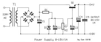 Simple Variable Power Supply 0-15VDC / 1A circuit diagram