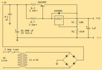 LM317T Voltage Regulator Circuit with Pass Transistor