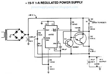 -15V / 1A Regulated DC Power Supply