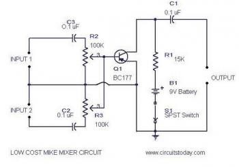 Low Cost Mic Mixer circuit diagram