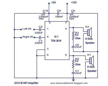 12W HiFi Stereo Audio Amplifier circuit diagram