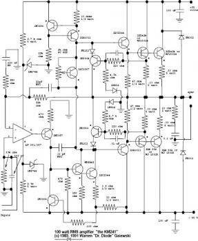 100W RMS Amplifier circuit diagram