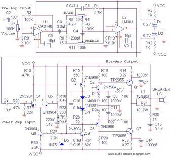 14Watt Audio Amplifier + pre-amp and tone control circuit diagram