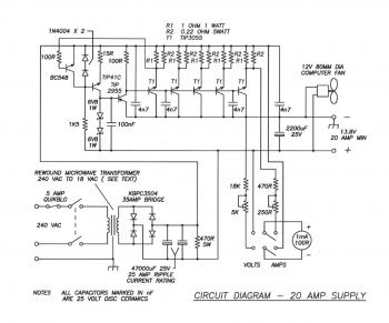 20A Regulated Power Supply circuit diagram