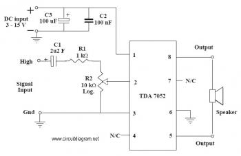 1W Audio Amplifier with TDA7052 circuit