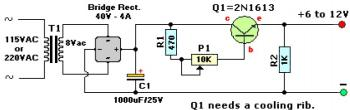 6-12V Variable Regulated Power Supply circuit diagram