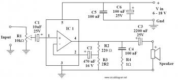 6 10W Audio Amplifier with IC TDA2002 circuit