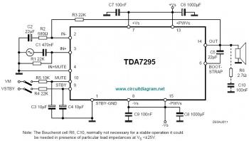 TDA7295, 80W Audio Amplifier circuit diagram