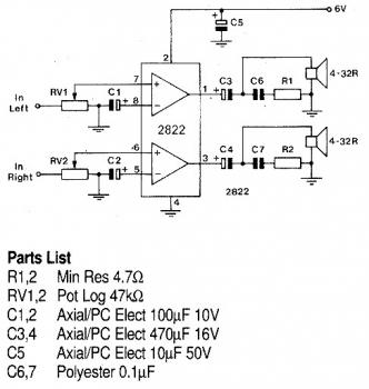 TDA2822 1W Stereo Headphone Amplifier circuit