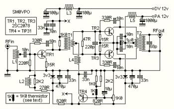 10W Linear RF Amplifier Circuit diagram