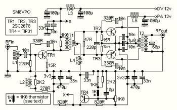 10W Linear RF Amplifier Circuit diagram