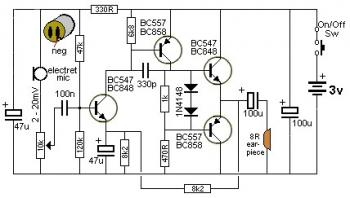 Mini Audio Amplifier with Transistors circuit diagram