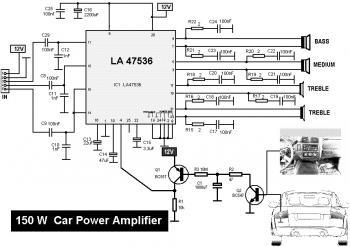 150W Car Amplifier based LA47536 diagram