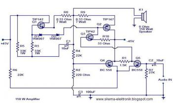 150W Audio Power Amplifier circuit diagram