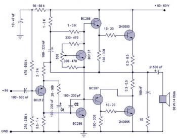 50W Audio Amplifier circuit diagram