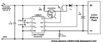 USB Battery Charger for Lithium Ion Battery circuit diagram
