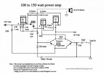 100 to 150 Watt Amp circuit diagram