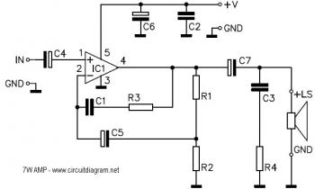 7 Watt Audio Amplifier with IC TDA2003 circuit diagram