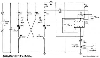 Sound Generator with IC 555 circuit diagram