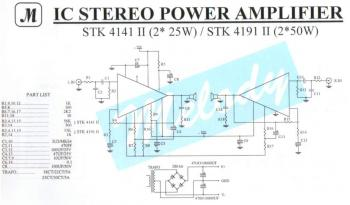 2x25W Stereo Power Amplifier with STK4141II circuit diagram