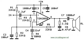 TDA2050 Amplifier Schematic diagram
