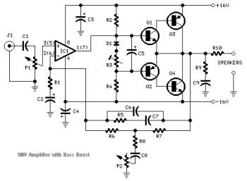 10W Audio Amplifier using TIP41A/TIP42A