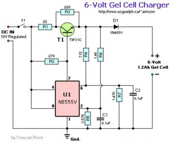 6V Gel Cell Charger Circuit diagram