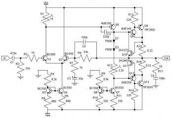 30W Class AB Power Amplifier Circuit diagram