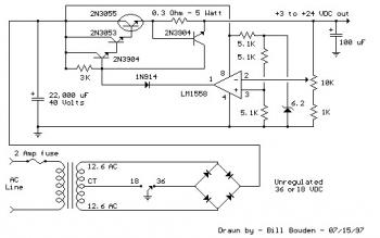 Variable DC Power Supply 3-24V / 3A circuit diagram