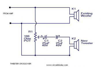 Tweeter Crossover circuit diagram