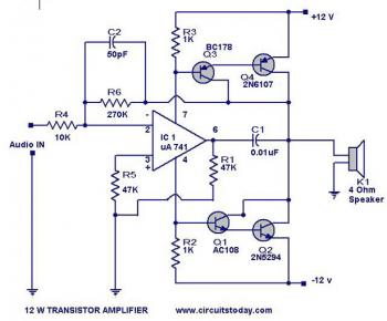12 Watt Audio Amplifier circuit diagram