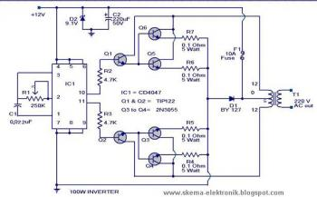 100 Watt Inverter 12V DC to 220V AC circuit diagram