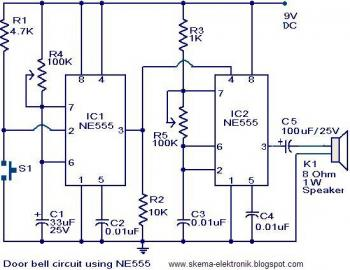 The main part of this doorbell circuit are two NE555 timer ICs. When ...