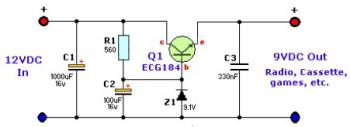 12VDC to 9VDC Converter circuit diagram