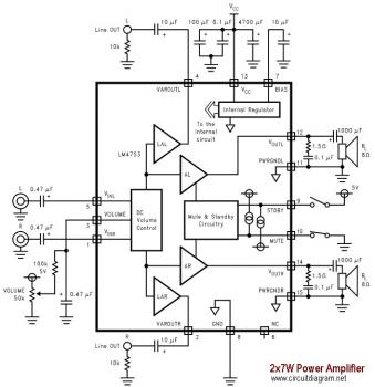 2x7W Audio Amplifier with LM4756 circuit