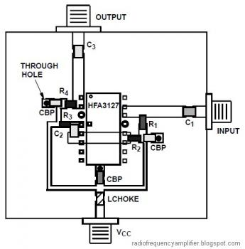 RF Amplifier based HFA3046, HFA3096, HFA3127, HFA3128 circuit diagram