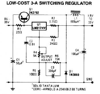 3A Switching Regulator Circuit diagram
