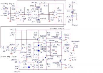 14W Audio Amplifier Circuit diagram