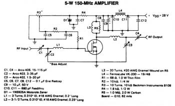 5W / 150Mhz RF Amplifier Circuit diagram