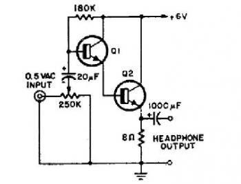 Simple 2 Transistor Headphone Amplifier circuit diagram