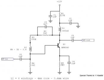 RF Amplifier Circuit 10MHz - 500MHz based BFR540